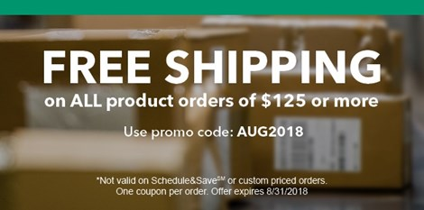 FREE SHIPPING on ALL product orders of $125 or more