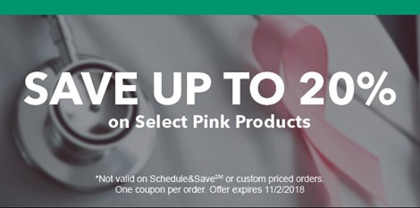 Now through October save on select pink products!