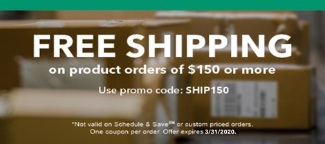 Free Shipping on Product Orders of $150 or More!